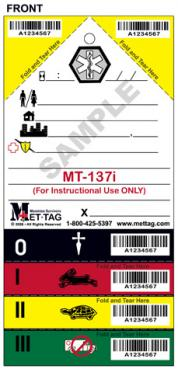 Instructional Medical Emergency Triage Tag (MT-137i)