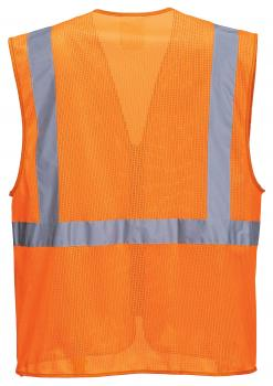 orange mesh safety vest with pockets