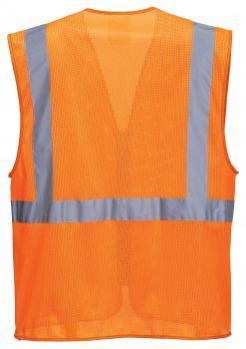 orange mesh safety vest with pockets