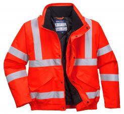 red waterproof hi vis bomber jacket