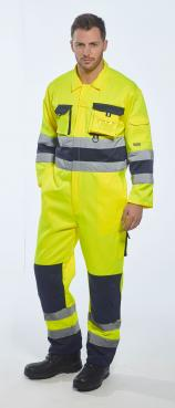 high visibility yellow coveralls