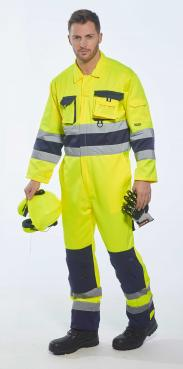 yellow coveralls with reflective tape