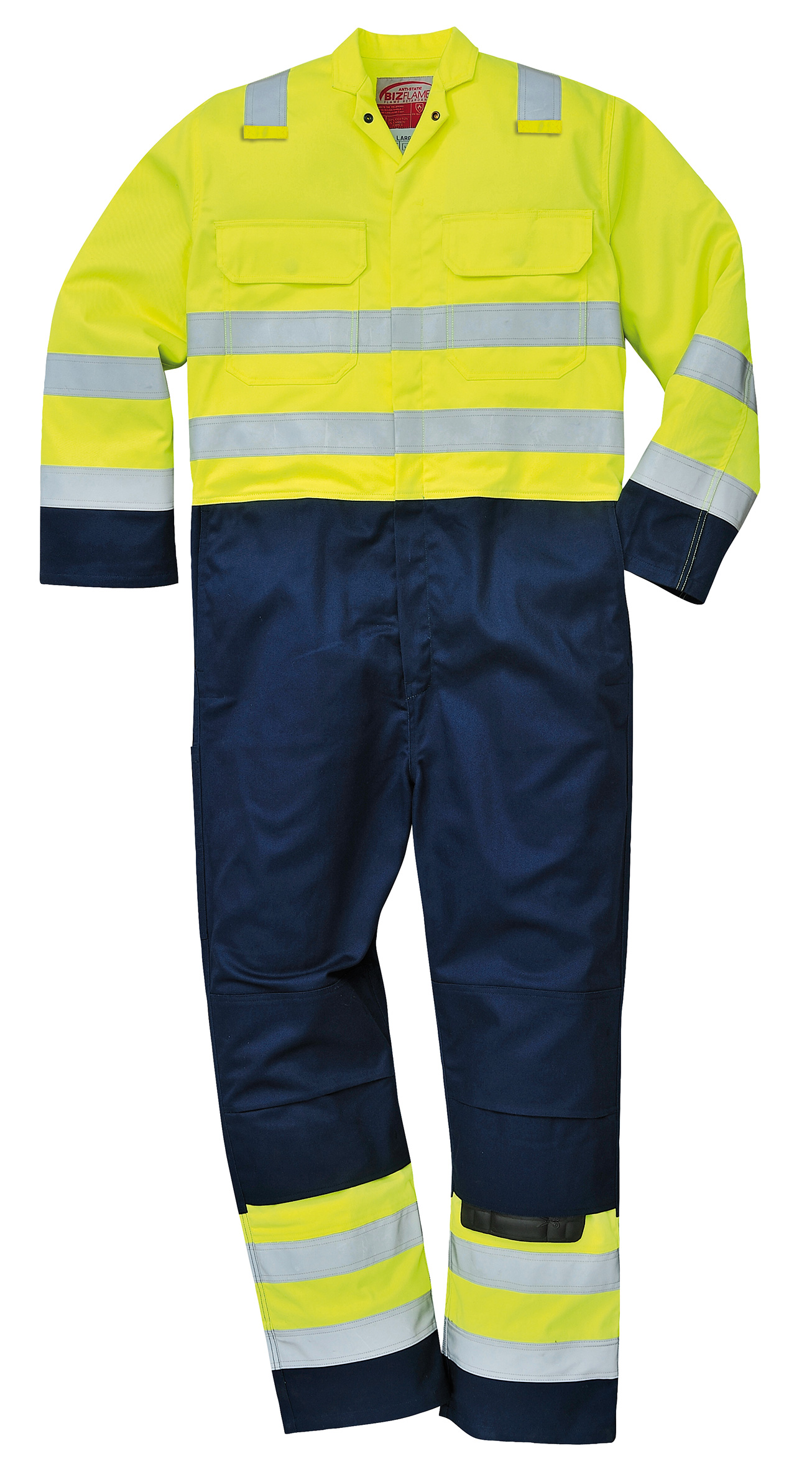 Biz7 Flame Resistant Anti Static Coverall Yellow//Navy Hi Vis Size 3XL