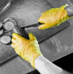 yellow vinyl gloves