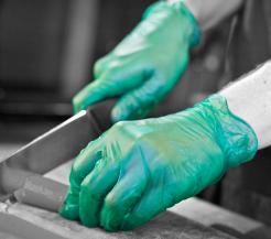 green vinyl disposable gloves