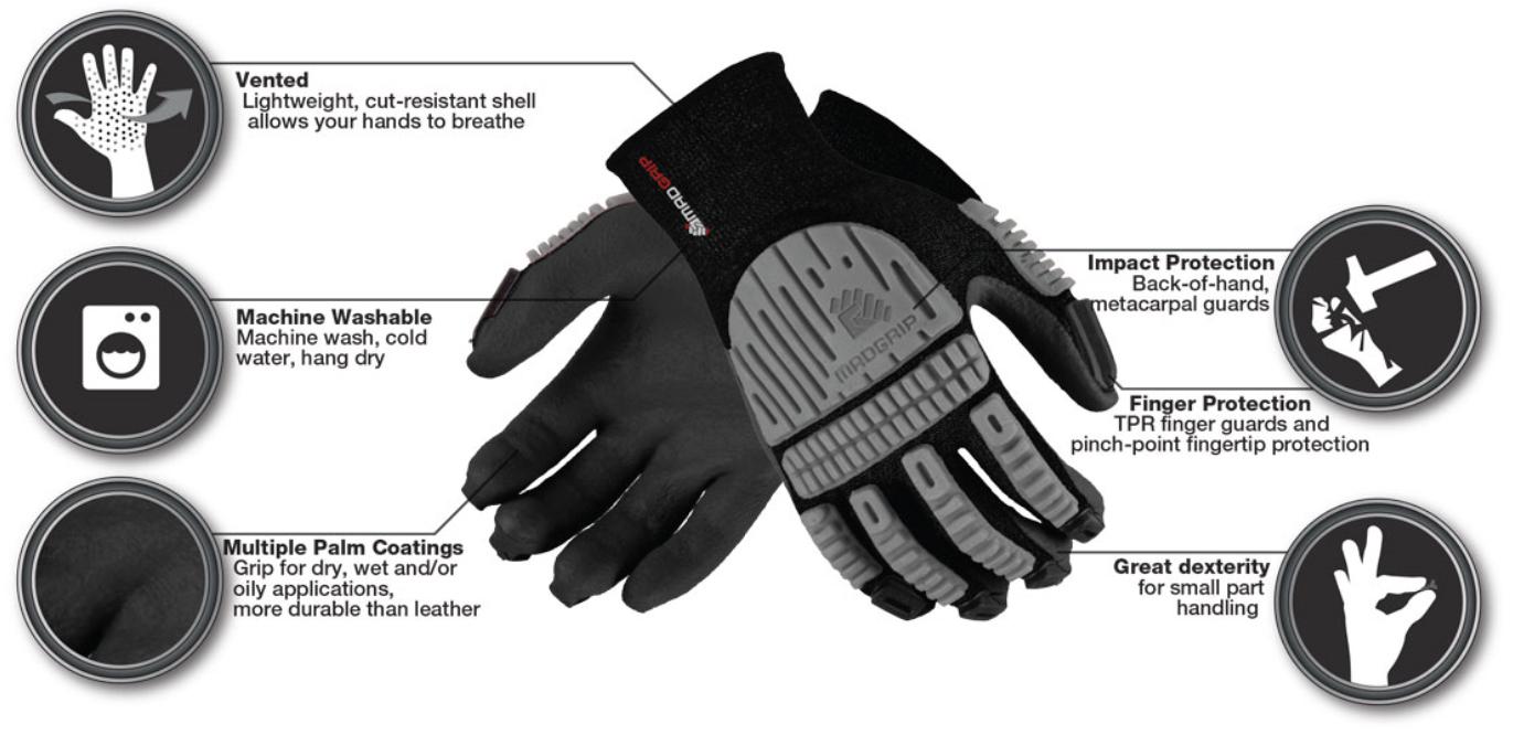 MadGrip Ergo Impact PU Palm Gloves