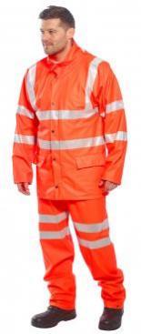high vis rain trousers orange