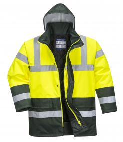 heavy winter jacket with a hood