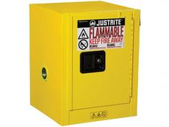 Justrite Sure-Grip® EX Countertop Flammable Safety Cabinet,4 Gallon,1 Manual Close Door, Yellow