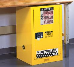 Justrite Sure-Grip® EX Compac Flammable Safety Cabinet, 12 Gallon, 1 Self-Close Door, Yellow