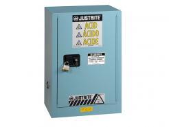 Justrite Sure-Grip® EX Compac Corrosives/Acid Steel Safety Cabinet, 12 Gallon, 1 Manual Close Door, Blue