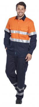 Hi-Vis Two Tone Regular Weight Long Sleeve Shirt with Tape Singapore