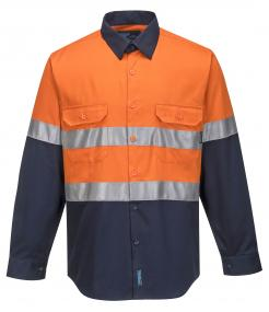 Hobart Hi-Vis Two Tone Regular Weight Long Sleeve Shirt with Tape
