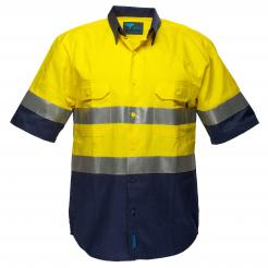 Hobart Hi-Vis Two Tone Regular Weight Short Sleeve Shirt with Tape Singapore