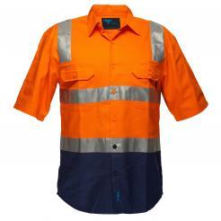 Perth Hi-Vis Two Tone Regular WeightShort Sleeve Shirt with Tape Over Shoulder