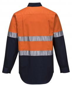 Hobart 2 Tone Hi-Vis Preshrunk 100% Regular Weight Long Sleeve cotton Drill Shirt with tape.  Double breasted pockets, w