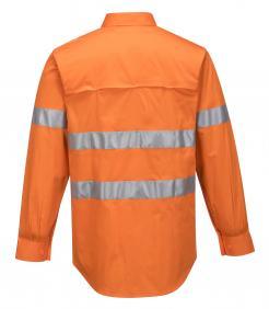 Orange Hi-Vis Lightweight Long Sleeve Shirt with Tape