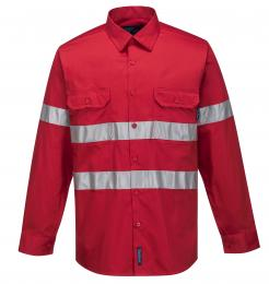 Red Hi-Vis Lightweight Long Sleeve Shirt with Tape
