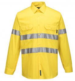 Yellow Hi-Vis Lightweight Long Sleeve Shirt with Tape Singapore
