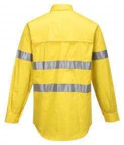 Yellow Hi-Vis Lightweight Long Sleeve Shirt with Tape
