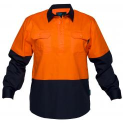 Hi-Vis Two Tone Lightweight Long Sleeve Closed Front Shirt Orange Navy