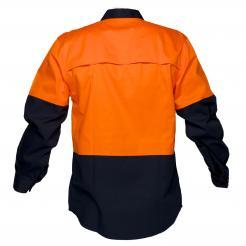 Hi-Vis Two Tone Lightweight Long Sleeve Closed Front Shirt Orange Navy Singapore