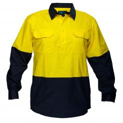 Hi-Vis Two Tone Lightweight Long Sleeve Closed Front Shirt Yellow Navy