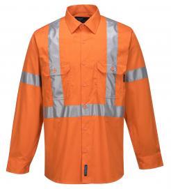100% Lightweight Cotton Long Sleeve Shirt with Cross Back Tape (MX301)
