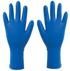 Blue nitrile powder free disposable glove with an extra long cuff