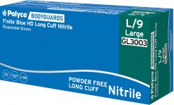 Blue nitrile powder free disposable glove with an extra long cuff Singapore