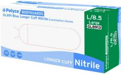 Blue nitrile powder free disposable glove with a long cuff singapore