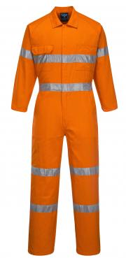 Lightweight Orange Coveralls with Reflective Tape