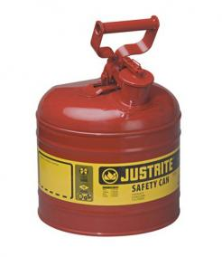Type I Steel Safety Can For Flammables, 2 Gallon, Red