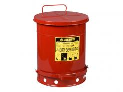 Oily Waste Can, 10 gallon, foot-operated self-closing cover, Red Oily Waste Can, 10 Gallon, Foot-Operated Self-Closing C