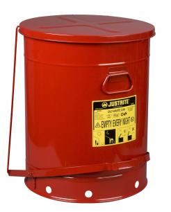 Oily Waste Can, 21 Gallon, Foot-Operated Self-Closing Cover, Red
