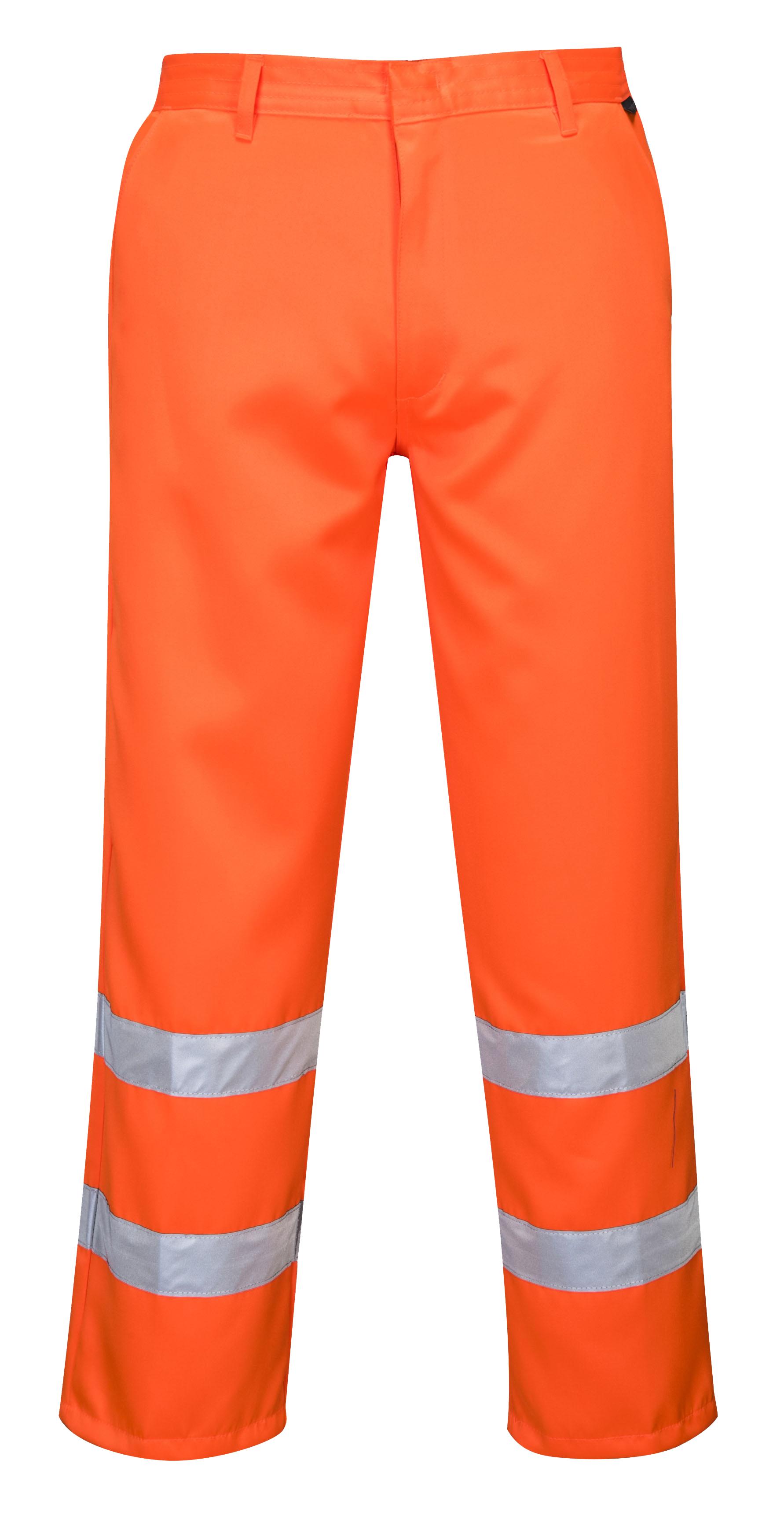 Portwest Men Hi-Vis Poly-Cotton Trousers Yellow//Orange Various Size And Fit E041