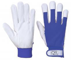 blue goatskin gloves