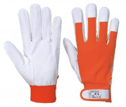 orange goatskin gloves