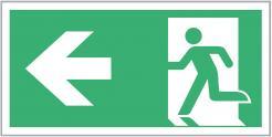 Escape Route Sign, Running Man/Arrow Left, 300mm x 150mm