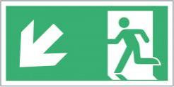 Escape Route Sign, Running Man Down/Left Directional Arrow, 300mm x 150mm