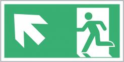Escape Route Sign, Running Man Up/Left Directional Arrow, 300mm x 150mm