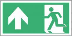 Escape Route Sign, Running Man/Arrow Left-Up, 300mm x 150mm