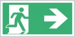 Escape Route Sign, Running Man/Arrow Right, 300mm x 150mm