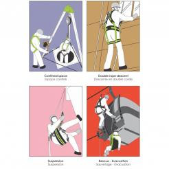 High comfortable suspension body harness FLY'IN 3 with work positioning belt 2  attachment points with 4 automatic buckl