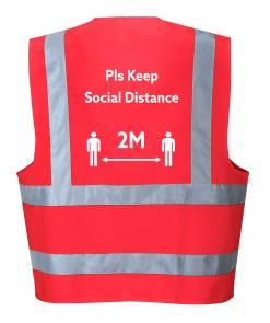 Social Distancing Hi-Vis Vest Red