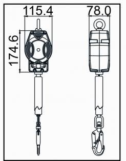 HELIXON-S Webbing, Retractable Fall Arrester 3.5 m, For Vertical and Horizontal Use (FA2050403)