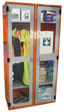 PPE Storage Cabinet - Double Perspex Door (with hanging rail)