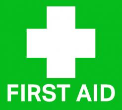 green first aid kit sticker