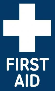 blue first aid sticker