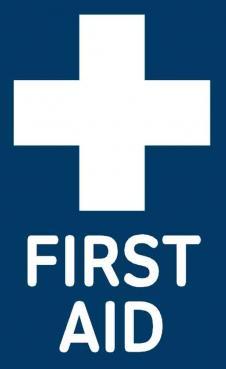 blue first aid sticker